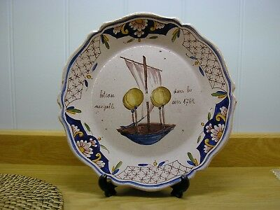 French Faience Rouen Balloon Plate, marked rouen
