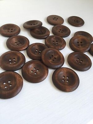 6 pcs Dark Coffee 4 Holes Round Wood Sewing Scrapbooking Buttons 35mm (273)