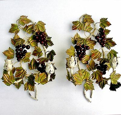 VTG Pair Italian Tole Wall Sconces Candle Holders Leaves Grape Made in Italy