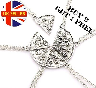 1 Slice Gift UK Silver Slice Pizza Pendant Chain Necklace Best Friend  BFF