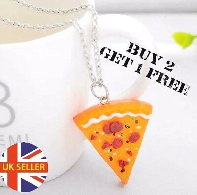 Gift UK  Slice Pizza Pendant Chain Necklace Best Friend Friendship BFF novelty