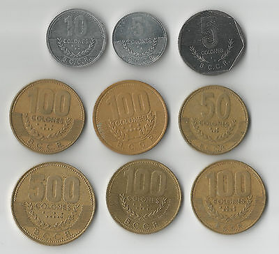 Costa Rica 9 coins 5 - 500 Colones all different types & catalogue numbers