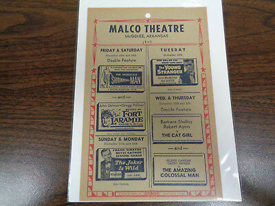 Malco Theatre Vintage Movie Ad Mcghee Arkansas The Young Stranger / Cat Girl