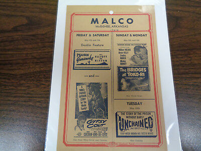 Malco Theatre Vintage Movie Ad Mcghee Arkansas The Bridges At Toko-Ri