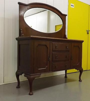 Large Antique Wooden Dressing Table With Mirror and Drawers Victorian Edwardian