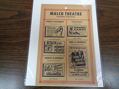 Malco Theatre Vintage Movie Ad Mcghee Arkansas War Of The Colossal Beast