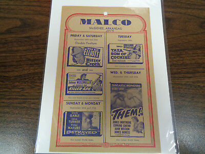 Malco Theatre Vintage Movie Ad Mcghee Arkansas Bitter Creek / Them / Betrayed