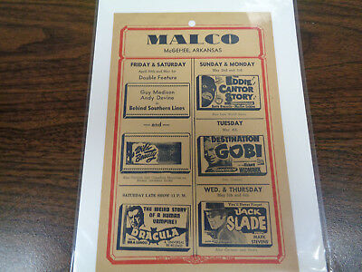 Malco Theatre Vintage Movie Ad Mcghee Arkansas Dracula / Behind Southern Lines