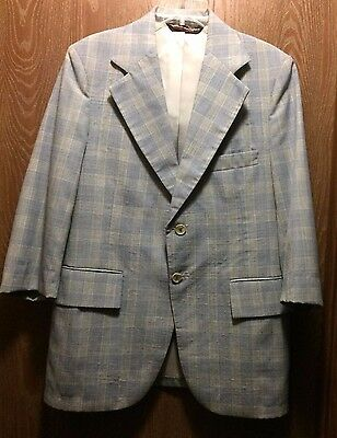 Vintage 60's Clipper Craft Women's Polyester Blue Plaid 3/4 Sleeve Blazer Sz 12