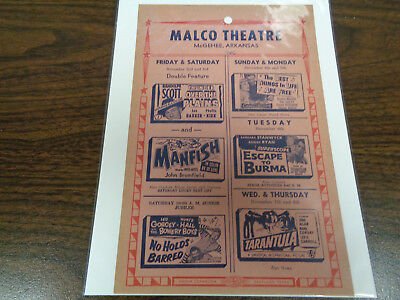 Malco Theatre Vintage Movie Ad Mcghee Arkansas Thunder Over The Plains