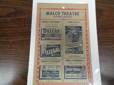 Malco Theatre Vintage Movie Ad Mcghee Arkansas Dallas/illegal/swamp Women