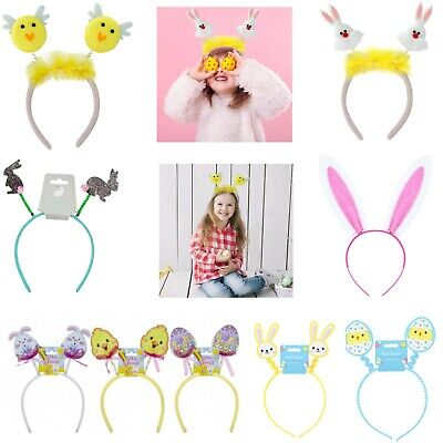 Easter Bunny Ears Headband 3 Colours Head Boppers,Easter ClipOn Accessories Tail