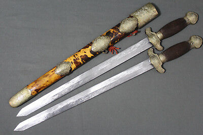 Chinese shuang jian swords with tortoise shell scabbard - China, Qing dynasty