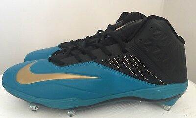 competitive price b6119 4eee1 NEW Mens NIKE Sz 14 zoom arch beam propulsion FOOTBALL CLEATS black Gold  Teal