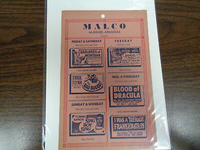 Malco Theatre Vintage Movie Ad Mcghee Arkansas Blood Of Dracula