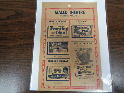 Malco Theatre Vintage Movie Ad Mcghee Arkansas Frankenstein 1970 / Frontier Gun