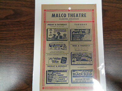 Malco Theatre Vintage Movie Ad Mcghee Arkansas 3 Outlaws / The Killer Is Loose