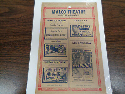 Malco Theatre Vintage Movie Ad Mcghee Arkansas Uncle Tom's Cabin / Seminole