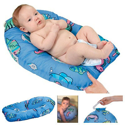 Baby Infant Bath Bench Seat Tub Soft Cushioned Support Bath Pad Pillow Blue Fish