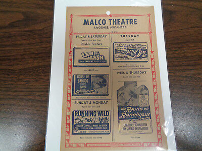 Malco Theatre Vintage Movie Ad Mcghee Arkansas The Wizard Of Oz /law Of The Lash
