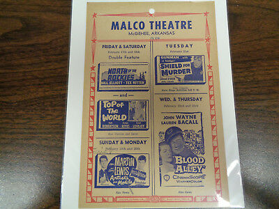 Malco Theatre Vintage Movie Ad Mcghee Arkansas North Of The Rockies
