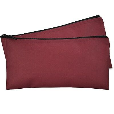 Deposit Bag Bank Pouch Zippered Safe Money Bag Organizer in Maroon Red 2 PACK