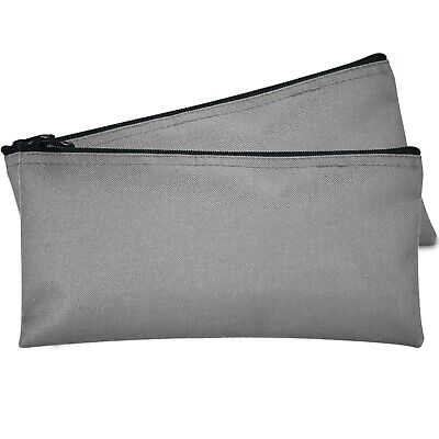 Deposit Bag Bank Pouch Zippered Safe Money Bag Organizer in GRAY 2 PACK
