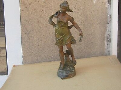 Antique French Mantel Clock Female Figure Bronzed Spelter -Tores Tore