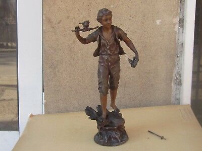 ANTIQUE FRENCH MANTEL CLOCK POLYCHROME SPELTER 38 cm BOY FIGURE-19th c