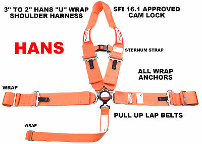 Hans Race Harness 5 Point Cam Lock With Sternum Strap Orange