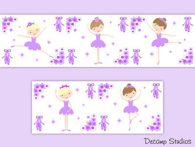 Ballerina Wallpaper Border Wall Art Decals Girl Purple Nursery Room Stickers
