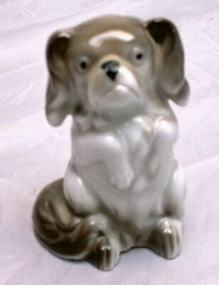 Begging Cavalier King Charles Spaniel, Sitting Up, German Porcelain Figurine