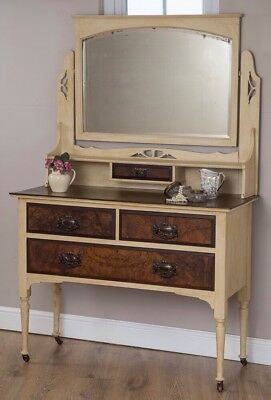 vintage dressing table, with drawers and mirror hand painted