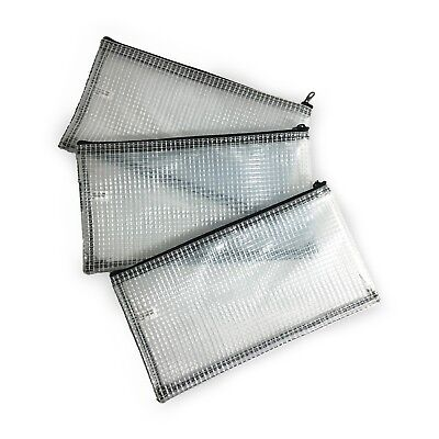 New 3 Clear Vinyl Rip Stop Zipper Wallets Pouches Multipurpose Money Bags