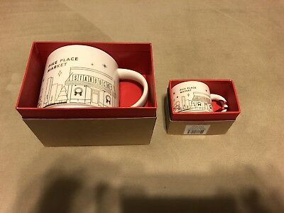 NEW Starbucks You Are Here 2014 Pike Place Gold Christmas Mug Cup & Ornament