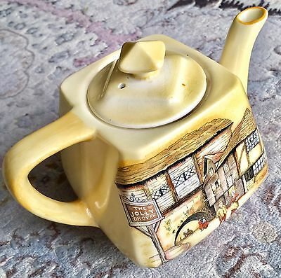 "Rare Antique English Lancaster & Sons ""The Jolly Drover Inn"" Porcelain Teapot"