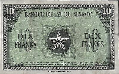 Morocco Prove  10 Francs  1.3.1944  P 25 ps  No Serial or Series #  Scarce