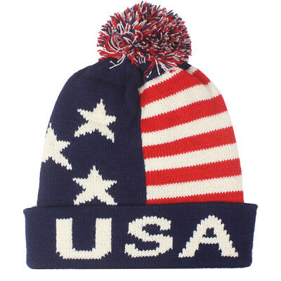 Team USA American Flag POM KNIT Beanie Hat Winter Olympics STARS AND  STRIPES LET c8195c6622d