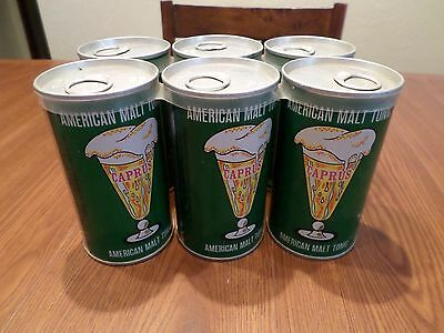Beer Can Lot of 6 Pack Caprus American Malt Tonic Steel w/ carrier Prop Staging