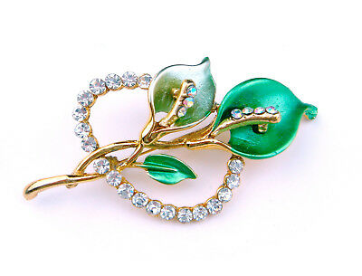 Vintage Antique Art Deco Czech Glass Brooch Pin Calla Lily Gold Green Rhinestone