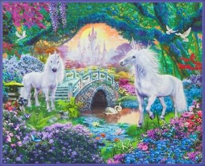 Sweet Unicorn Picture This Robert Kaufman Brushed Cotton Quilting Fabric Panel
