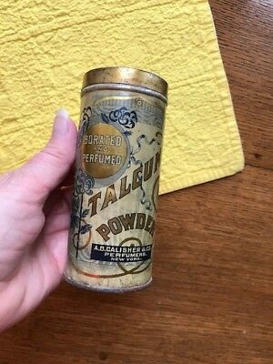 VINTAGE Talcum Powder Tin Can Talc CALISHER Perfumers Measles Nettles
