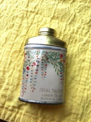 VINTAGE Talcum Powder Tin Can Talc SAMPLE Larkin NY IDEAL small