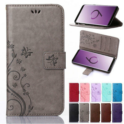 For Samsung Galaxy S9 S8 Plus Leather Magnetic Flip Card Wallet Case Stand Cover