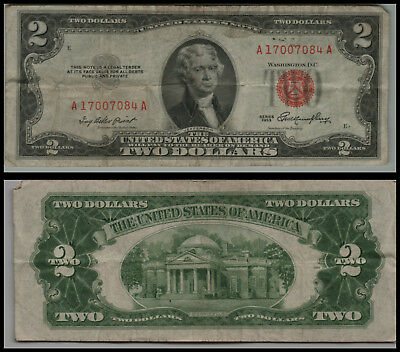 1953 $ 2 DOLLAR UNITED STATES NOTE RED SEAL $2 Two Dollar Bill  LOT V457