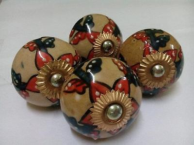 2 Pair Beautiful Floral Printed Indian Handmade Ceramic Door Knobs for Kitchen