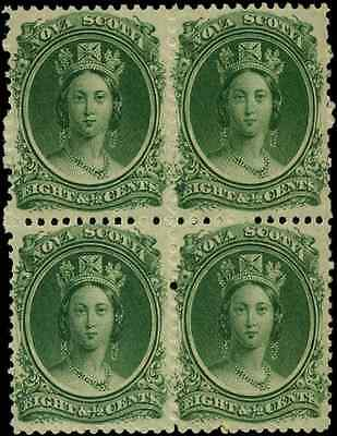 Nova Scotia #11 mint VF OG NH (block of 4) 1860 Queen Victoria 8 1/2c CV $160.00