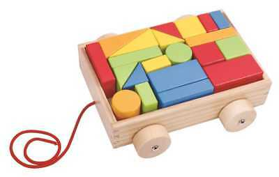 Wooden PULL-A-L BLOCK CART TOOKY TOY COLOURFUL INFANT PULL-A-L