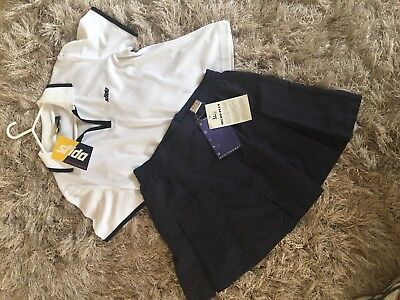 BNWT SFIDA Size 14 Ladies Navy Tennis Skirt With Matching Navy And White Top