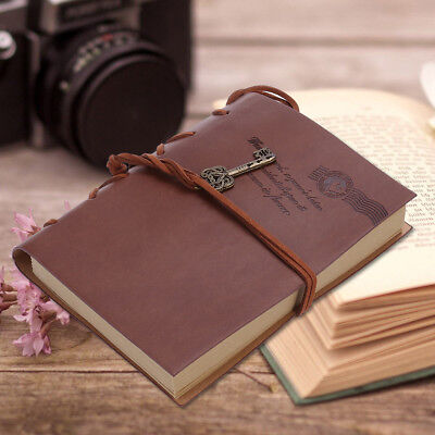 PU Leather Cover Blank Paper Journal Diary Notebook Vintage Sketchbook Coffee